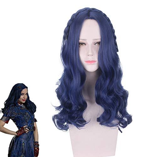 Descendants 2 Evie Cosplay peluca azul oscuro largo onduladomujeres pelo sinttico resistente al calor fiesta de Halloween juego de roles pelucas de disfraces