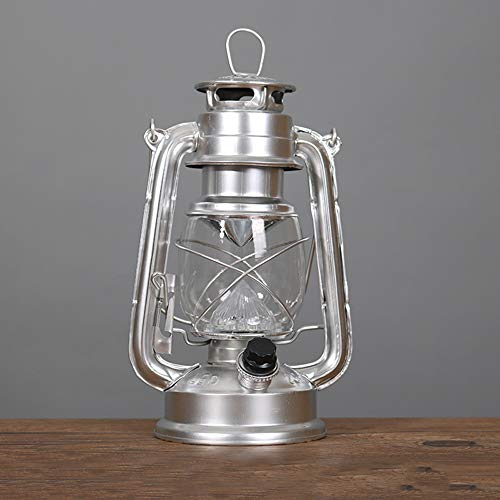 Antique Oil Burning Lamp Traditional Classical Old Kerosene Oil Lantern Lamp Country Kerosene Lantern Outage Emergency Light for Patio Garden Porch Decoration