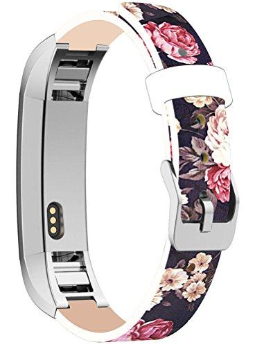 Bands for Alta HR, Cisland Straps Replacement Compatible with Fitbit Alta (HR) Silver Connectors + Luxury Colorful Floral Flower Texture