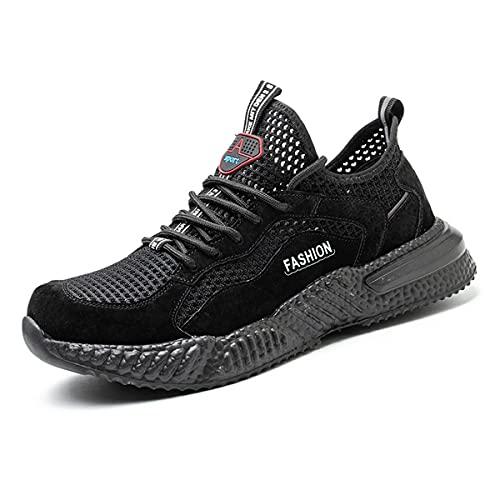 Aingrirn Arbeitsschuhe Sicherheitsschuhe Herren Bequee Leichte UnzerstöRbare Stahlkappe Schutzschuhe Sneaker (Color : Black, Size : 39 EU)