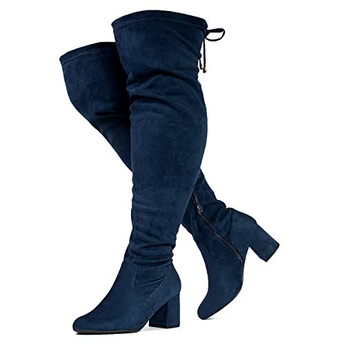 RF ROOM OF FASHION Women's Wide Calf Wide Width Block Heel Stretchy Over The Knee Boots - Plus Size Friendly NAVY Size.8