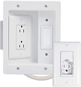 Legrand - OnQ, White, 5.1, HT22U2-WH-R12 Legrand, Recessed In Wall TV Power, Pro Power & Cable Management, Long Range Kit, Home Office & Theater, HT22U2WHR12