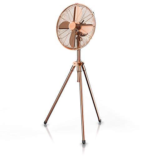 Brandson – Standventilator mit Dreibeinstativ - Ventilator Kupfer Design - mobiler Lüfter - 3 Geschwindigkeitsstufen - 60 Watt - 45 cm Durchmesser - Modell 2021