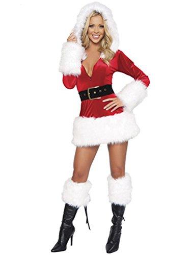 CHIC-CHIC Noël Mère Déguisement Femme Christmas Costume Robe Adulte Combinaison (Blanc)
