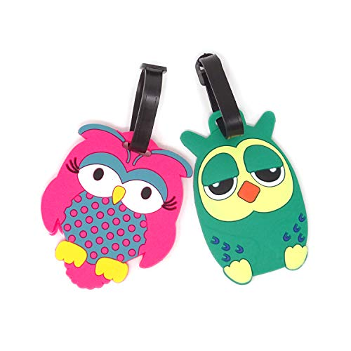 Honbay 2PCS Fashion Owl Luggage Tags Silicone Luggage Label Travel Baggage Tags
