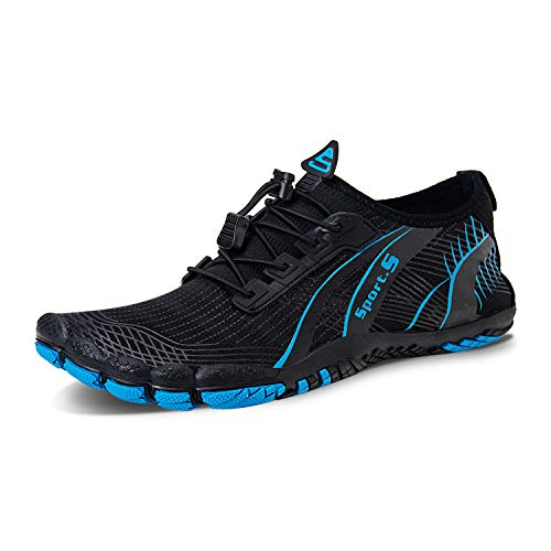 IceUnicorn Barfußschuhe Herren Damen Zehenschuhe Aquaschuhe Fitness Schuhe Strandschuhe Traillaufschuhe Wasserschuhe(2#S/Blau, 45EU)