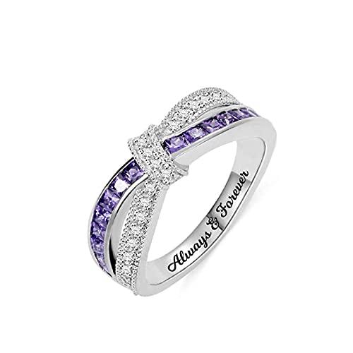 Lakabara 925 plata esterlina damas cruz anillo de piedra de nacimiento anillo de promesa que se adapta a su anillo de bodas anillo de compromiso