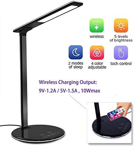 Zeaih Led-tafellamp, met 10 W QI snel, draadloze oplader, dimbaar, verstelbaar, nachtkastje, lamp voor studenten en kinderen