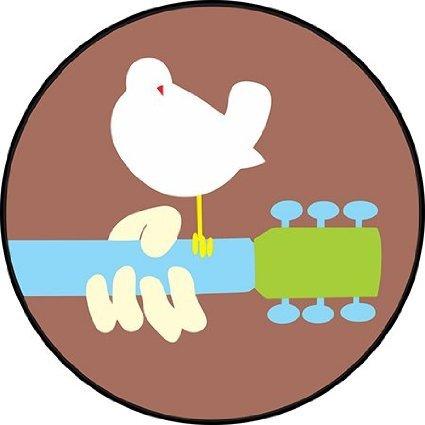INDIGOS UG Aufkleber Autoaufkleber JDM Die Hart - Woodstock Round Bumper Sticker peace love soul 114mmX114mm