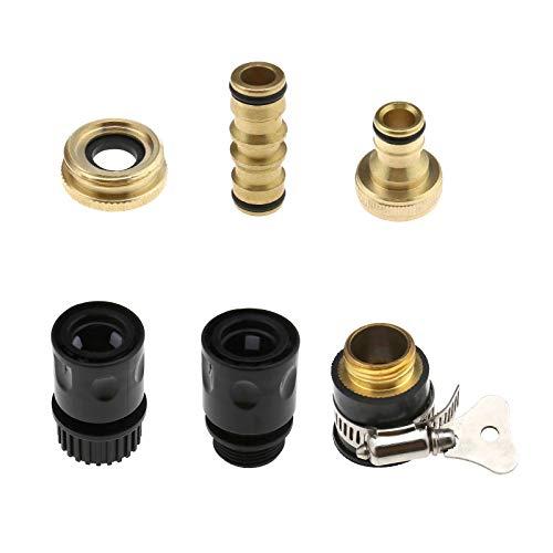 "Creative-Idea Brass Connector Adaptor, 1/2"" 3/4"" Threaded Brass Tap Adaptor Garden Water Hose Quick Pipe Connector 6pcs"