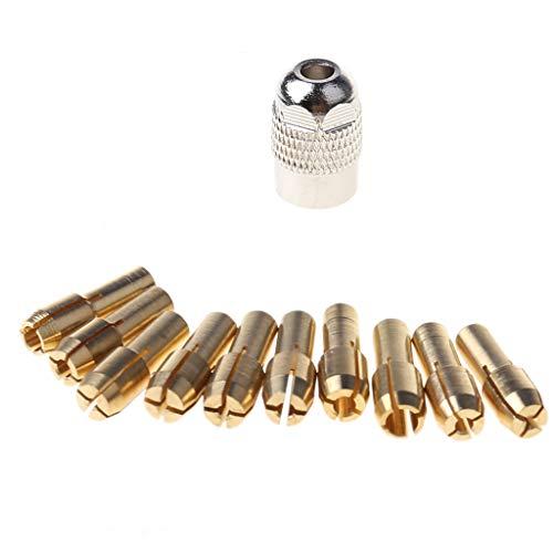 Drill Chucks,QINYUAN,10Pcs Brass Drill Chuck Collet Bits For Rotary Tool 0.5-3.2mm 4.3mm Shank