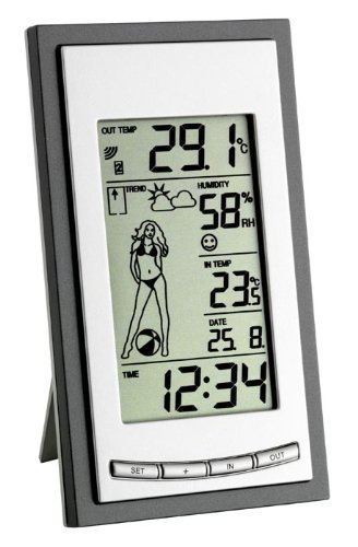 Wetterladen Wetterstation Weather Girl, Silber, 144 x 81 x 32 mm
