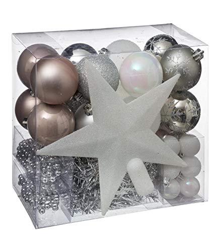 Lot déco Noël - Kit 44 pièces pour décoration sapin : Guirlandes, Boules et Cimier - Thème, Gris/Blanc/Chocolat