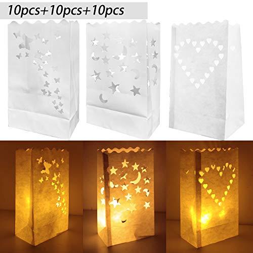 JJQHYC Bolsas de luminarias para velas, 30 paquetes de velas de linterna de papel Bolsas blancas para la fiesta de recepción de bodas y decoración de eventos.