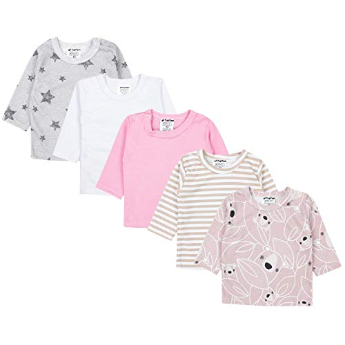 TupTam Baby Mädchen Langarmshirt Gestreift 5er Set, Farbe: Farbenmix 2, Größe: 62