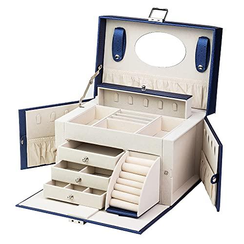 DEL DREAM - Joyero grande con cerradura, 4 niveles con 3 cajones con espejo, para anillos, pendientes, collares y pulseras, elegante y clásico (azul)