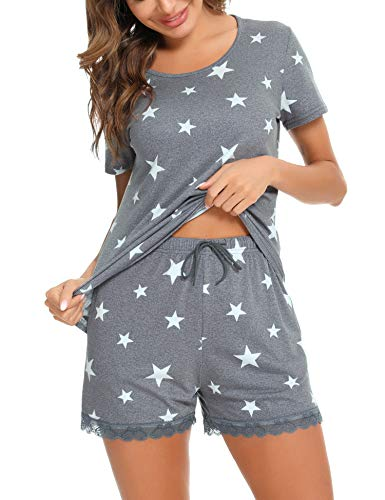 Irevial Pijamas de Mujer de Verano algodón Manga Corta Conjunto de Pijama de Estrellas Pantalon Corta 2 Piezas Fresco y cómodo,Gris,l