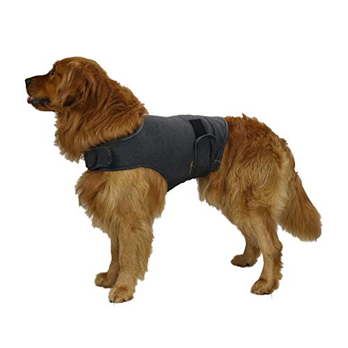 KittyStar Breathable Thunder Shirts for Dogs, Dog Anxiety Vest Jacket Warp,Puppy Calming Coat Anxiety Relief(Gray L)