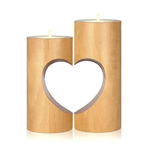 Teelichthalter Mittelstück ChasBete Holz Kerzenhalter für Tisch 2er Set Vintage Kerzenständer in Herzform