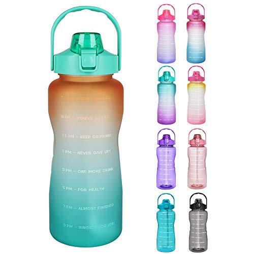 Opard Trinkflasche, BPA Frei Wasserflasche mit Strohhalm, 1-klick Verschluss Auslaufsichere Water Bottle, Zeitmarkierung Sportflasche (Orange Grün)