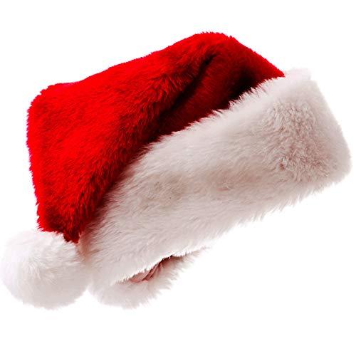 Longsing Cappello di Natale Cappello Babbo Natale Cappello da Babbo Natale Bambino Adulto Tessuto in Velluto Rosso Natale Unisex
