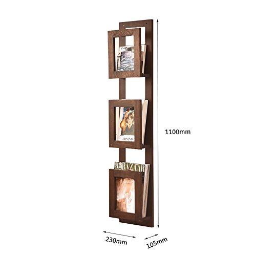 Porte-Revues Solid Wood On The Wall Bookstand Bookshelf Newspaper Stand Creative Display Stand Incorporated Wall Mount Magazine Étagères (Couleur : Brown, taille : 110cm)