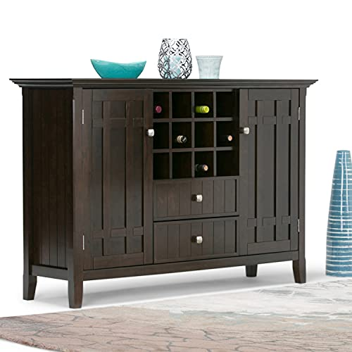 SIMPLIHOME Bedford Solid Pine Wood 54 inch Rustic Sideboard Buffet Credenza in Dark Tobacco Brown features 2 Doors, 2 Drawers and 2 Cabinets with 12 Bottle Wine Storage Rack