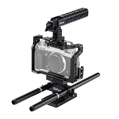 NITZE Kit de jaula X-T3 compatible con Fujifilm X-T2/X-T3 con mango NATO, abrazadera de cable HDMI, placa base elevable y varillas de aleación de aluminio – FTK-XT3