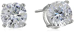 Classic stud earrings featuring cubic zirconia stones in four-prong basket settings set in sterling silver Butterfly backing Crafted in .925 sterling silver Imported These silver pieces are built for longevity. This piece features a metal plating or ...
