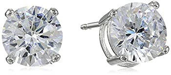 Amazon Essentials Platinum Plated Sterling Silver Round Cut Cubic Zirconia Stud Earrings  5mm