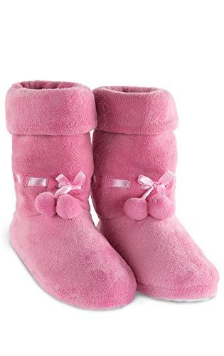 PajamaGram Fleece Slippers for Women - Slipper Boots for Women, Pink, 7/8