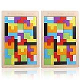 Holz Tetris, 2 Pack Tangram Wooden Puzzle Holztetris Gehirntraining Spielzeug Montessori Pädagogisches Geburtstagsgeschenk Spiel Baustein Intelligenz Vorschulspiel für Kinder über 36 Monate