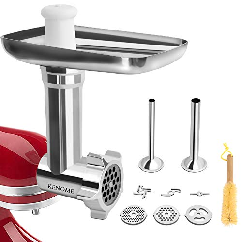 Metal Food Grinder Attachment for KitchenAid Stand Mixers Includes 2 Sausage Stuffer Tubes,Durable Meat Grinder Attachment for KitchenAid,Silver