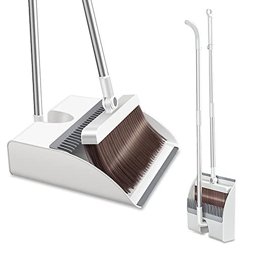 YHD Juego de escoba y recogedor de acero inoxidable y plástico con hebilla magnética, cerdas mullidas