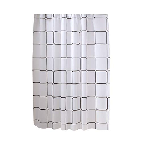 topxingch Duschvorhang für Badezimmer, wasserdicht, PEVA-Gewebe für Zuhause, Hotel, mit Haken, PEVA, weiß 2, 59.1