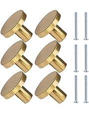 Solid Gold Door Knobs, Round Cabinet Knobs, 6 Psc Single Hole Cupboard Door Handles, with Screws for Wardrobe Door, Dresser Drawer, Kitche, Home Dcoration(32*24mm)