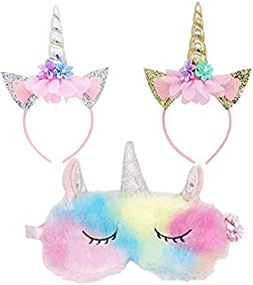 Fascia per unicorno Maschera per gli occhi Impostato, Cute Unicorn Horn Soft Plush Blindfold Eye Cover per le donne, Littl...