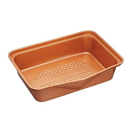 Kitchencraft Masterclass Smart en céramique Grande empilage Plat à rôtir antiadhésif, 41.5x 31.5cm (41,9x 31,8cm), Finition Acier aluminisé, Cuivre, 1x 1x 1cm