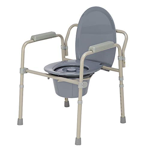 Folding Bedside Commode, Heavy Duty Steel Adults Toilet Seat Potty Chair with Handles & Bucket, Gray