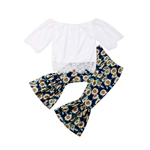 2PCS Baby Girl Autumn Clothes Set,Kids Off Shoulder Tube Top Shirt/Ruffle T-Shirt+Flare Long Pants Casual Clothing (Sunflower, 5-6 Years)