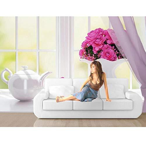 3D behang foto muurschildering, woonkamer raam bloem China fles 3D schilderij TV bank achtergrond muur niet-geweven, behang 280 cm (B) x 180 cm (H)