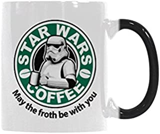 May The Froth Be With You Star Wars Coffee Mugs Heat Sensitive Morph Mug Ceramic Material Color Change Morning Mug 11 Ounces