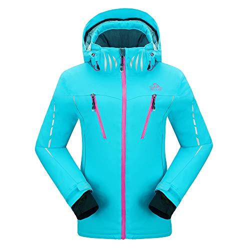 PELLIOT Damen Ski Jacke Winddichte Verdickte Snowboard Breathable Skijacke, Gr.-XXL, Blau