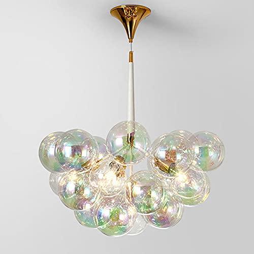Lámpara de araña de cristal negra moderna 18 Bola de vidrio Bola de bola de vidrio, lámpara de colgante minimalista, lámparas colgantes decorativas, sala de estar, iluminación interior, fuente de luz