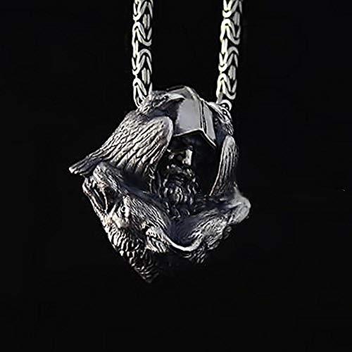 guodong Norse Odin Viking Stainless Steel Pendant Scandinavian Raven Wolf Men's Amulet Jewelry