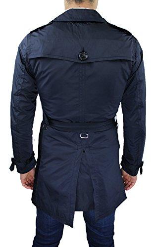 AK collezioni Giubbotto Trench Uomo Blu Slim Fit Aderente Casual Giacca Lunga Soprabito (L)