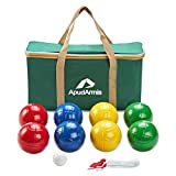 ApudArmis 90mm Bocce Balls Set, Lighter Outdoor Bocce Game for Backyard/Lawn/Beach - Set of 8 Soft PE Balls & 1 Pallino & NylonCarrying Case & Measuring Rope for Kids Adults Family