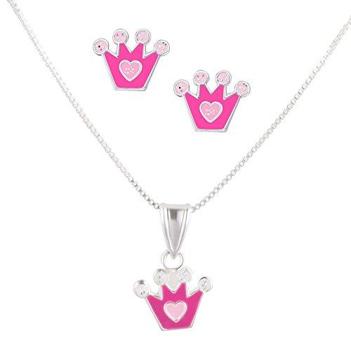 SL-Silver, Set con collana e orecchini, per bambini, in argento 925, ciondolo con cristalli a forma di corona, in confezione regalo