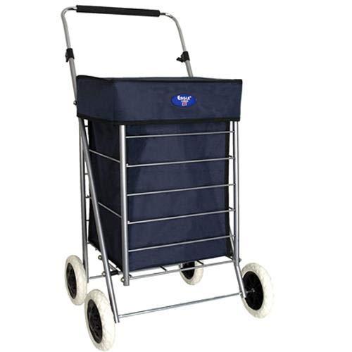 Einkaufstrolley mit 4 Rädern, 47 l, zusammenklappbar, leicht, mit Rollen, Marineblau