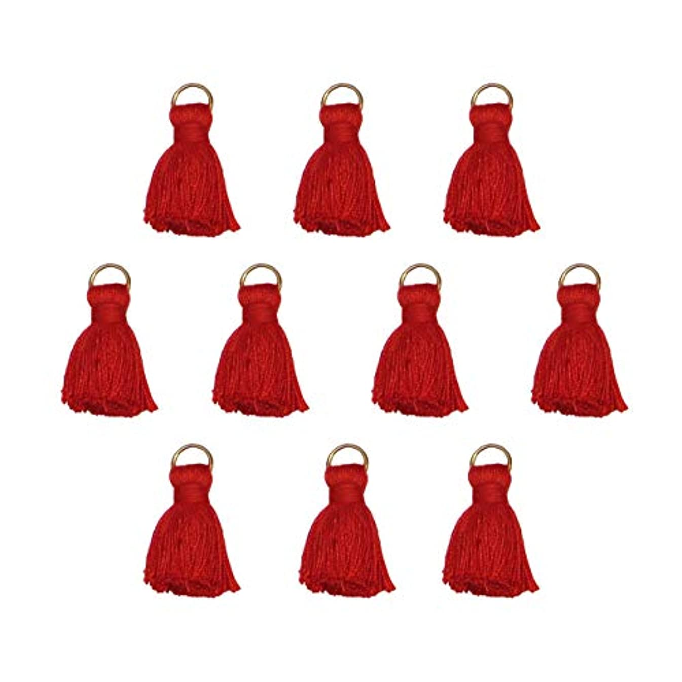 Tassels for Jewelry Making, Crafts, Decor, DIY - Mini 1 inch - White, Black, Navy Blue, Pink, Red, Green, Purple - for Earrings, Necklace, Bracelet, Mala, Pillows, Zipper - 10 pcs Pack (Red)